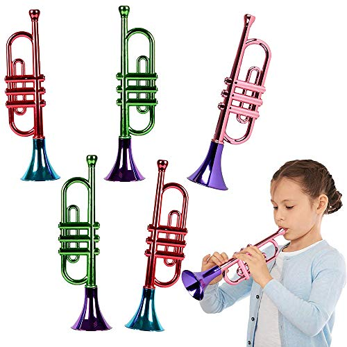 ArtCreativity 13 Inch Metallic Trumpets, Set of 5, Fun Plastic Musical Instruments Noise Makers for...