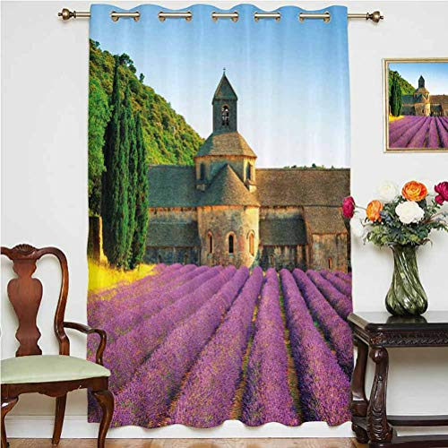 Lavender Blackout Curtain Abbey of Senanque in France Architecture Countryside Blooming Rows Scenic Thermal Backing Sliding Glass Door Drape ,Single Panel 52x63 inch,for Bedroom Tan Violet Green