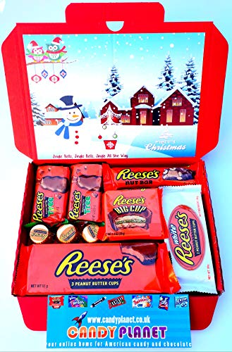 Reese's Christmas Trees American Candy Gift Box Hamper | Peanut Butter Chocolate Selection | Letterbox Friendly Glossy Red Box | Retro Sweets | Christmas Present | Hamper Exclusive to CANDYPLANET!