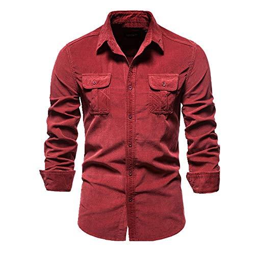 U/A Einreihiges Herrenhemd, Business Casual Solid Color Cord Men Shirts Herbst Slim Shirt Herren Gr. XL, rot