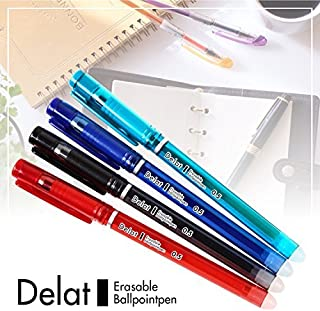 Delat Erasable Gel Ink Ballpoint Pen 0.5mm, 4 Colors Set (BLACK/RED/BLUE/GREEN)