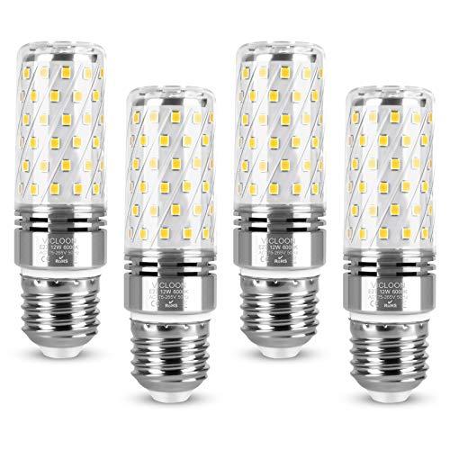 Vicloon Maíz Bombilla LED E27, E27 LED Maiz 12W Equivalente a Bombilla Halógena de 100W, Blanco Frío 6000K, 1400LM, Haz de Ángulo 360°, Bombilla LED E27 Luz Frío, 230V, No Regulable, Paquete de 4