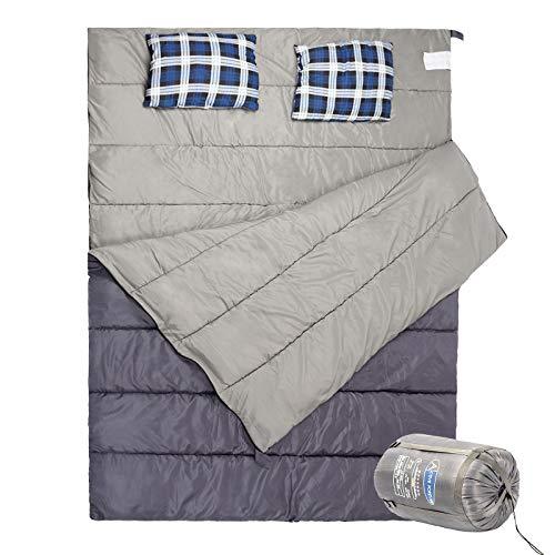 Grandma Shark 2-persoons outdoor envelop slaapzakken compact waterdicht ontwerp, licht - inclusief gratis compressortas (grijs)