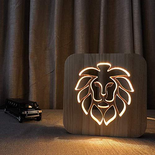 WRISCG Lámpara Escritorio Cabeza de león de Dibujos Animados Creativo 3D lámpara de Mesa Decorativa de Madera Hueca USB LED luz de Noche Dormitorio habitación de los ni?os Cumplea 19 * 1