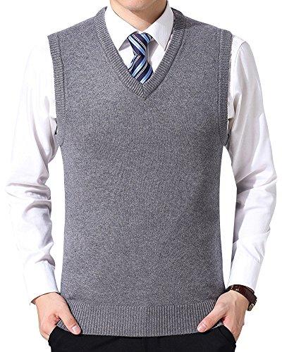 Chaleco Suéter Hombre Sin Mangas Cuello V Color Sólido