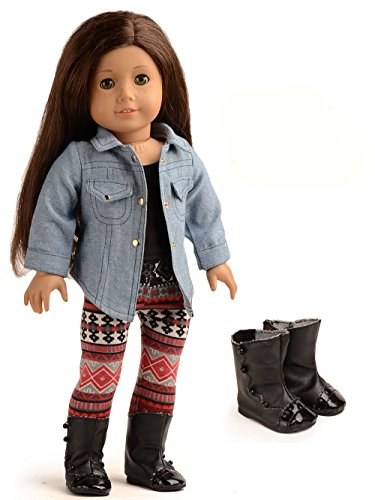 sweet dolly 4PC Doll Clothes Denim Jacket Tank Top Leggings Outfits for 18 inch American Girl Doll