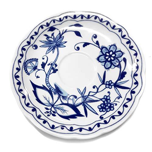Triptis 1350380674731116 Romantika Zwiebelmuster Kaffee-Untertasse, Ø 15 cm, Porzellan, weiß/blau (4 Stück)
