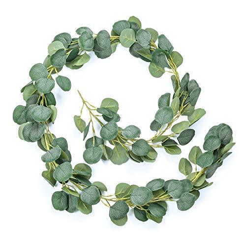 Artificial Eucalyptus Garland, Artificial Eucalyptus Vine Wreath, Faux Green Leaf Plant Decoration for Table Centrepiece, Wedding, Party, Indoor, Outdoor, Background Decor(6.5ft/ 2m)
