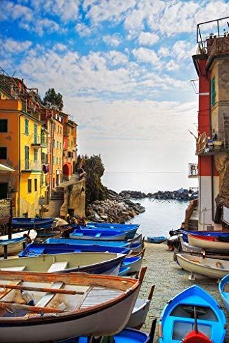 DIY Digitales Ölgemälde Boote Am Ufer Der Cinque Terre Gemaltes Kreatives Hauptdekorationsgeschenk, Handgemaltes Ölgemälde Auf Leinwand des Modernen Wohnzimmers 40 * 50Cm