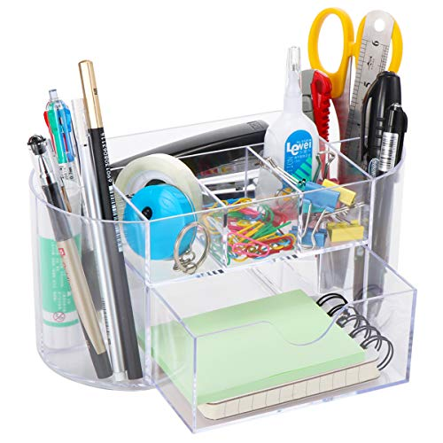 URbantin Desk Organizer, Pencil Holder Pen Holder, Acrylic Clear Office Desk Supplies Organizer Caddy with Sliding Drawer (Clear)