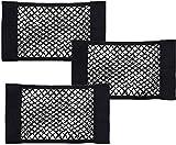 BESTZY Rete Portaoggetti Auto Velcro 3 Pezzi Bagagliaio Auto Rete Portaoggetti Tasca Telo Protettivo Portaoggetti Organizer per Bagagliaio di Tronco di Auto