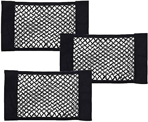 BESTZY Kofferraum Netztasche 3 Stück Universal Netztasche mit Klett-Befestigung für Universal Auto Kofferraum Gepäcknetz