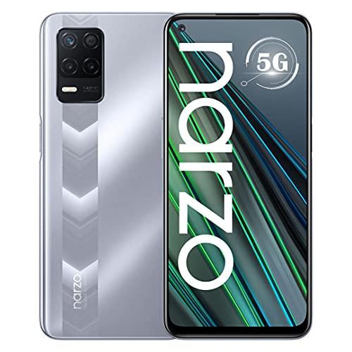 Realme Narzo 30 5G Smartphone Dual Sim RAM 4GB ROM 128GB Dimensity 700 Pantalla DotDisplay FHD+ de 6,5' a 90 Hz, Batería de 5000mAh Triple Cámara de 48 MP con IA Versión Global Racing Plata