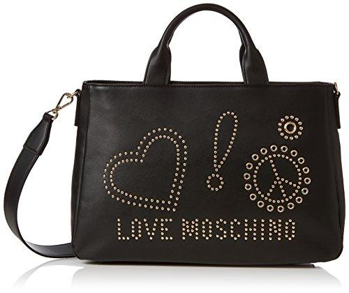 Love Moschino Borsa Calf Pu Nero - Galv.oro, Sacs portés épaule femme, Noir (Black), 12x26x38 cm (B x H T)