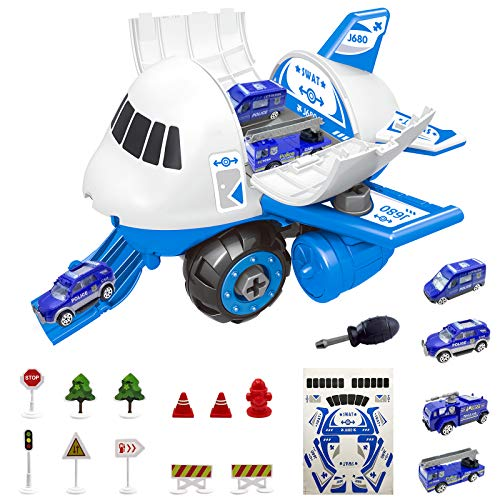 OKBONN Airplane Toys for Boys,Car Toy with Transport Cargo Plane,DIY Assembled Educational Police Cars Set for Kids Toddler Gifts Toys for 2 3 4 5 Year Old Boys Girls