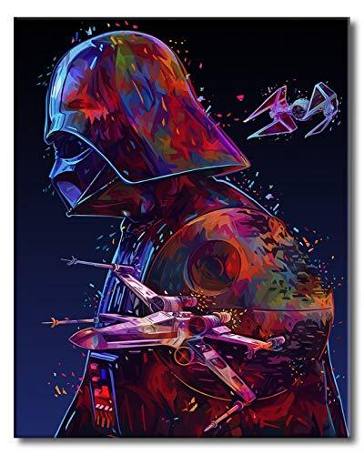 Shukqueen Malen nach Zahlen, DIY Ölgemälde für Erwachsene, Anfänger, Kinder, Feiertagsgeschenke, Darth Vader, 16x20 Zoll (Ohne Rahmen)
