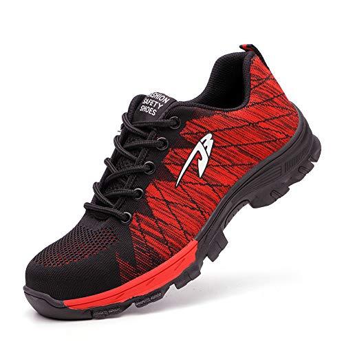 Zapatos De Seguridad para Hombre con Puntera De Acero Mujer Calzado De Trabajo Zapatos De Deportivos Transpirables Construcción Botas Trekkings Red 42