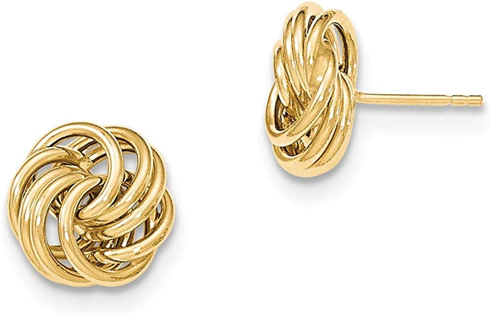 14k Yellow Gold Post Stud Earrings Ball Button Love Knot Fine Jewelry For Women Gifts For Her