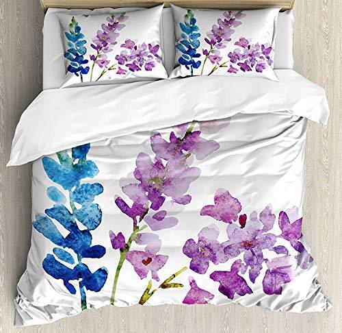 XINGAKA Juego de Funda nórdica Floral, Ramas de Flores de Acuarela en Tonos primaverales, Lavanda y Ramo de violetas, Juego de Cama Decorativo de 3 Piezas con 2 Fundas de Almohada Multicolor