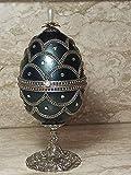 Faberge Huevo - Joyero musical de plata con forma de huevo real Fabrege, diseño de huevo ruso, para mujer, regalo de aniversario, 600 piedras de Swarovski, 43 ct