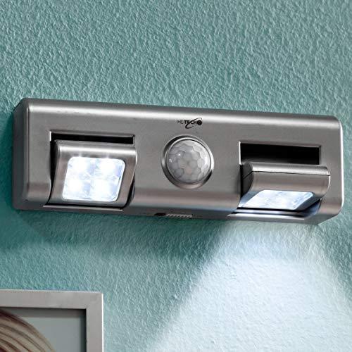 HEITECH LED Lichtleiste mit Bewegungsmelder innen - 2er Pack batteriebetriebene Wandleuchte mit einstellbarer Lichtstrahlung - Batterie Nachtlicht kabellos für Küche Schrank uvm