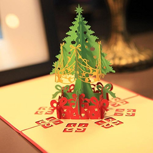 3PCS Merry Christmas Tree 3D Card Laser Cut Paper Christmas Greeting Cards Xmas Gifts By Ungfu Mall