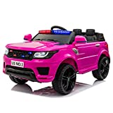TOBBI 12V Kid Ride on Police Cop Car Battery Powered Electric Truck with Parental Remote Control, Siren, Flashing Lights, Bluetooth, Music, Spring Suspension (Rose Red)