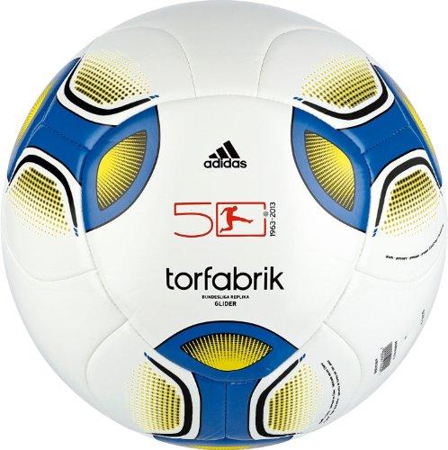Adidas - Pallone da calcio 2012 Glider, Multicolore (Bianco/blu primario), 4