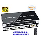 BLUPOW 4K60Hz HDMI2.0 HDCP2.2 HDR対応 HDMI 切替器 4入力1出力 + 音声分離(SPDIF 光デジタル・R/Lアナログ音声出力) HDMI セレクター 分離 音声 hdmi オーディオ 分離 2160P 3D ARC対応 Fire TV・Apple TV・PS4pro・Xbox・Blu-ray Players対応 hdmiスイッチャー VA532