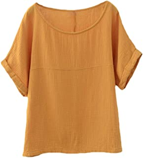 Soojun Women's Cotton Linen Round Collar Boxy Top Patchwork Blouses