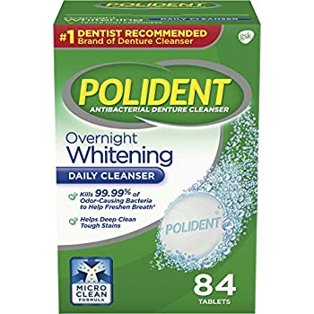 Polident Overnight Whitening Denture Cleanser Tablets 84 Count