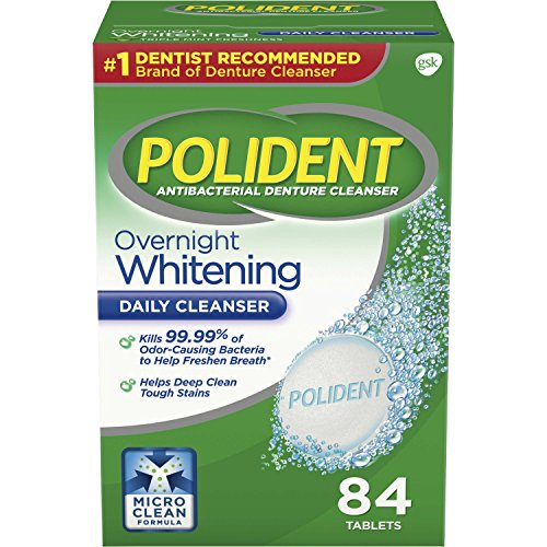 Polident Overnight Whitening Antibacterial Denture Cleanser Effervescent Tablets, 84 count