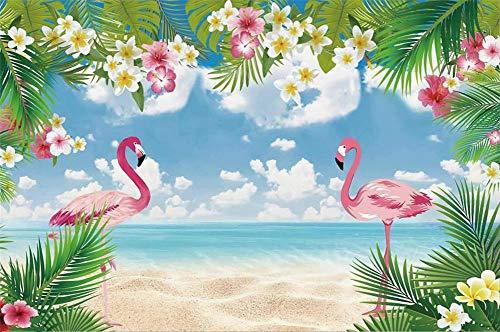 Flamingo Birthday Party Tropical Palms Tree Beach Poster Baby Kid Photo Backdrop Photography Background Photo Studio A12 3x3m