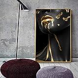 KWzEQ Hermosa Dama de Oro Negro pintando en la Sala de Estar HD Mural Art Golden Canvas Fashion Poster,Pintura sin Marco,40X60cm