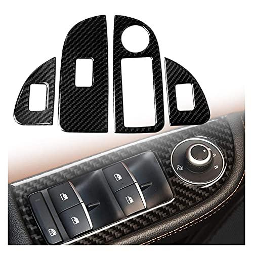 KTZAJO 4 pz Sinistra Alzacristalli Interruttore di Controllo Della Finestra Trim Fit Per Alfa Romeo Giulia 17-19 (Nome Colore: Nero) (Taglia : Nero)