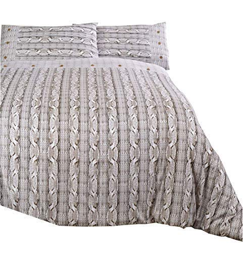 Aran Strick Druck Braun Cremefarben 100% Gebürstete Baumwolle Einzel Bettwäsche