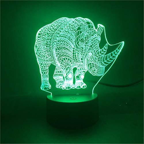 LBJZD nachtlicht Der Rhino Animal Atmosphere Touch Sensor Pretty Present Led Nachtlicht Für Bedside Decorative Mit Fernbedienung Ohne Fernbedienung