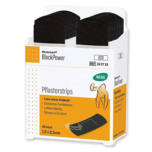 Werosmart® Pflasterspender-Einsätze Pflasterstrips 7,2 x 2,5 cm (Textil | Schwarz | Extrastark)