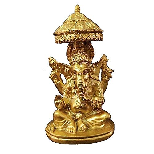 JYKFJ Buddha Statue, Ganesha Feng Shui Ornaments, Meditation Figurine, Golden Resin Elephant God Sculpture, Living Room Home Garden Decor