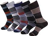 Marino Mens Patterned Dress Socks, Colorful Fun Socks, Fashion Cotton Socks - 5 Pack - Modern Striped Collection - 10-13