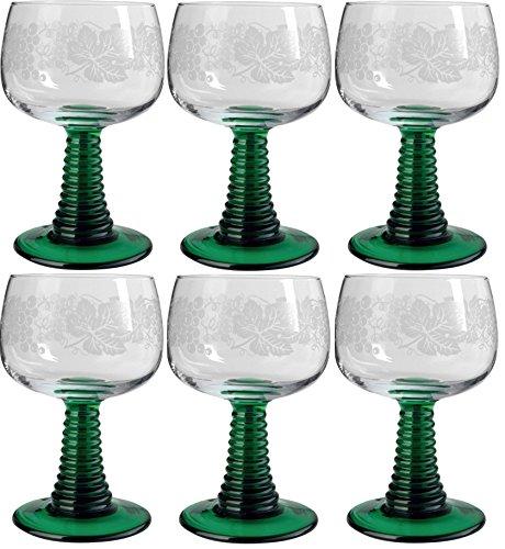 Böckling 6 x Weinrömer Jagst 200 ml Geeicht Weinlaub mit grünem Fuß, Weinglas, Römergläser,...