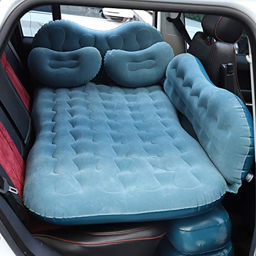 CALOER Thick Inflatable Car Air Mattress with Pocket,Headboard,Pillows and Air Pump (Portable)-Camping Inflation Bed Travel Air Bed Car Back Seat-Blow Up Air Mattress - Car Bed fits Car, SUV, Truck