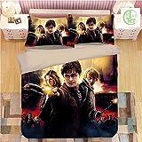 Harry Potter Juego de ropa de cama Hogwarts funda nórdica microfibra con cremallera juvenil regalo decoración dormitorio (04,220 x 260 cm (50 x 75 cm)