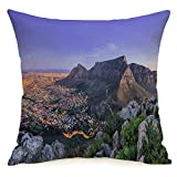Decorative Linen Square Throw Pillow Cover Car Waterfront South Africas Cape Water Reflection Towns Cloud Mountain Nature Design Sky Vacation Modern Design Cushion Case for Car Bed 18 x 18 Inch