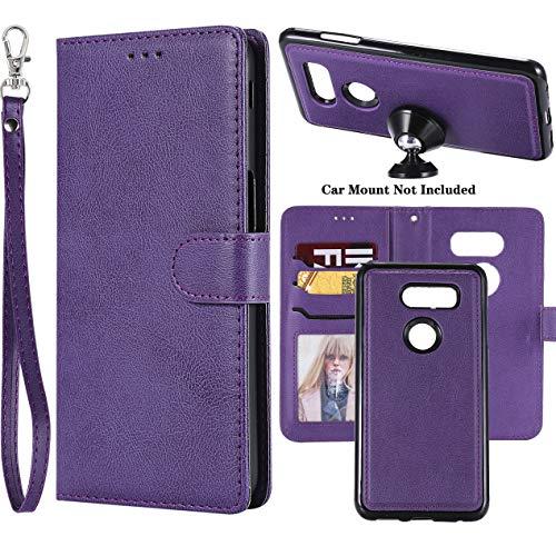 Ranyi for LG V30   LG V30S   LG V30 Plus LG V35   LG V35 ThinQ Case, Detachable Wallet Case [Magnetic Hard Cover Fit Car Mount] Credit Card Holder Slots Leather Flip Folio Wallet Strap Case (Purple)
