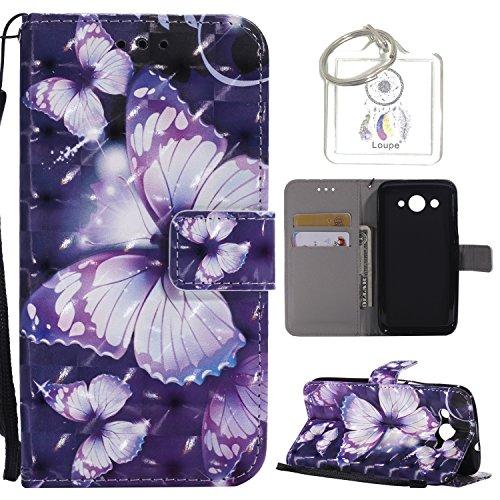 Carcasa Huawei Y32017Funda de piel, 3d retro pintado funda carcasa carcasa con tarjeta de Crédito y correa Stand debout función suave goma piel sintética estuches + llavero (P)