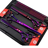 Purple Dragon 8.0' Titanium Multicolor Professional Pet Grooming Scissors Set,Straight & Thinning & Curved Scissors Shear with Bag for Dog Cat Grooming