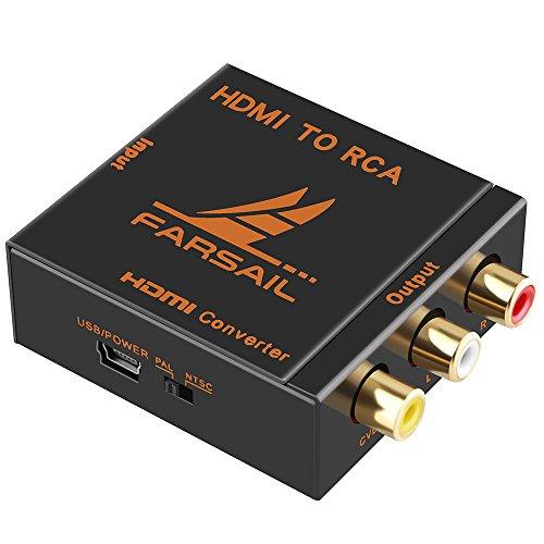 FARSAIL HDMI zu AV Konverter, HD 1080p Hdmi to Rca Av Audio Video Converter Adapter Unterstützung PAL / NTSC Switch mit USB Ladekabel - not Av to Hdmi Konverter