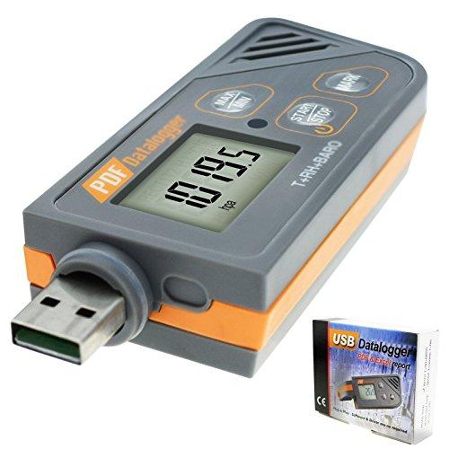 Digitale USB Datenlogger Feuchte/Temperatur/Druck Barometrische Daten Logger Messgerät, Plug & Play, generieren PDF & Excel, 6 Sprachen, pHa, inHg, ℉, ℃ und RH