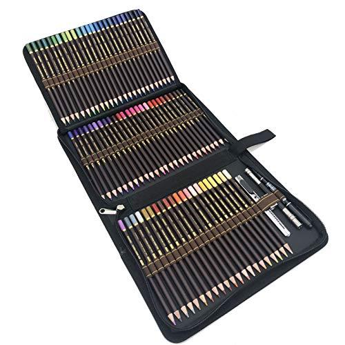 72pcs Buntstifte Professionell Set mit Premium Zipper federtasche,Zeichnen Bleistifte Art Set inklusive federtasche,farbstift und Zubehör,Profi Stifte-Set für Malbücher für Erwachsene oder Kinder